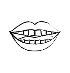Monochrome blurred silhouette of smiling mouth vector
