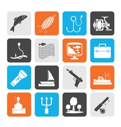 Silhouette fishing industry icons vector