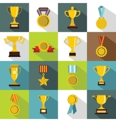 Trophy icons set flat style vector image