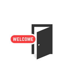 welcome like open door icon isolated on white vector image