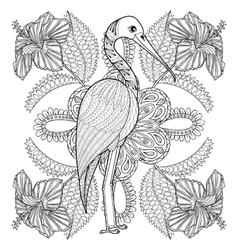 Zentangle Hand drawn Stork in Hibiskus for adult vector image vector image