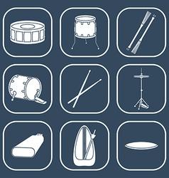 Drum icons Silhouette Flat design vector image