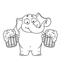 elephant he holds a mug of beer vector image