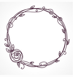 floral frame wreath of rose flowers vector image vector image
