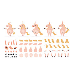 set of cartoon fantastic unicorn elements for vector image