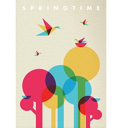 Spring time nature tree forest and birds vector image vector image