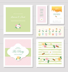 wedding or birthday card templates set decorated vector image