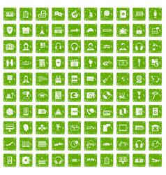 100 headphones icons set grunge green vector