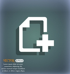 Add File document icon symbol on the blue-green vector image