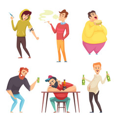 addicted lifestyle alcoholism drugs and addiction vector image