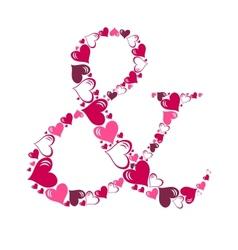 Alphabet of hearts vector image