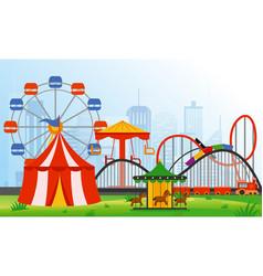 amusement park elements on vector image