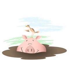Animals Country life Pig in a puddle vector image