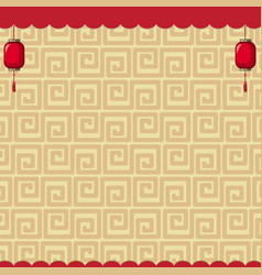 background design with brown chinese patterns vector image