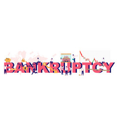 bankruptcy typography banner template flat vector image