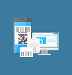Bar code on mobile phone and laptop shopping bill vector