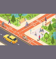 Bicycle path bike road lane isometric city street vector