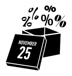 Box discounts on twenty fifth of november icon vector