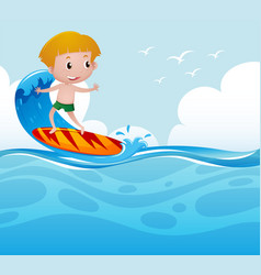 Boy surfing on the wave vector