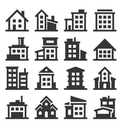 building icons set on white background vector image