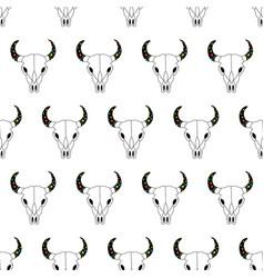 bull skull seamless pattern cow skull line vector image