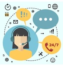 Call center telemarketing woman operator vector