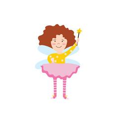 Cartoon fairy girl with magic wand flying and vector