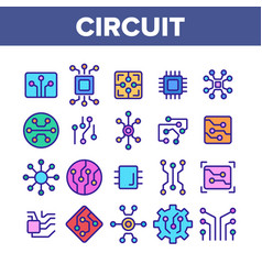 circuit computer chip collection icons set vector image