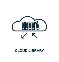 Cloud library icon outline style thin line vector