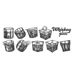 Collection classical irish whisky glass set vector