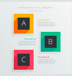 Colorful infograph three steps with long shadow vector