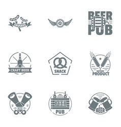 Craft beer logo set simple style vector
