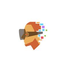 creative colorful helmet head logo vector image