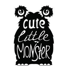 Cute little monster black vector