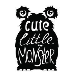 cute little monster black vector image