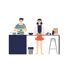 cute young man and woman cooking meals in kitchen vector image