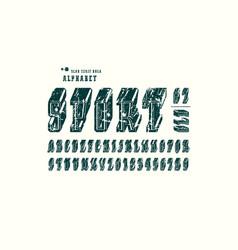 Decorative slab serif bulk font in the sport style vector
