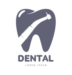Dental care logo template with drill silhouette vector