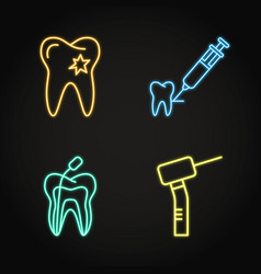 Dental treatment icon set in neon line style vector