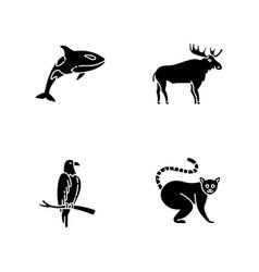 different animal species black glyph icons set vector image