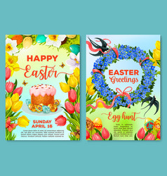 Easter egg hunt poster invitation flyer template vector