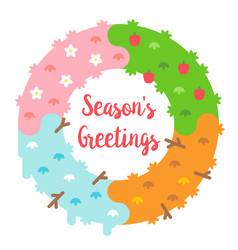 flat design seasons greetings card with wreath vector image