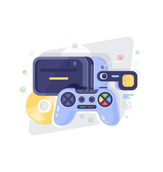 flat gamepad for game disk and vr helmet vector image