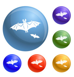 flying bat icons set vector image