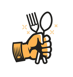 Fork and spoon in hand symbol cooking cookery vector