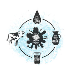 Fresh milk from the farm vector