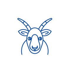 funny goat line icon concept funny goat flat vector image