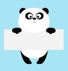 Funny panda bear hanging on paper board template vector