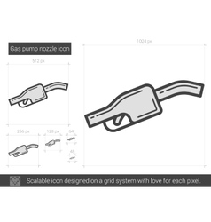 Gas pump nozzle line icon vector image