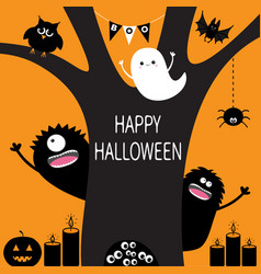 Ghost pumpkin spider monster candle owl eye vector